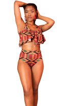 Exotic Printed High Waist Ruffle Top Bikini 2 Pieces