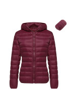 Large Windproof Wine Red Foldable Hoodie Coat Long Sleeves