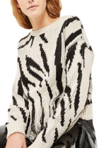 Black Printing Tassels Knit Sweater Long Sleeves Round Neck