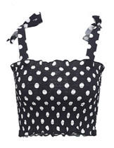 Dynamic Black Crop Polka Dot Print Tops Bowknot Wide Straps Shop Online