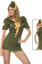 Flashy Short Sleeves Front Yellow Lace Up Army Dress Costume