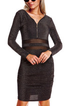 Black Bodycon Splicing Waist Dress Long Sleeves Plunging Neck