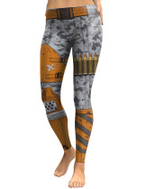 Liberty Trendy Military Weapons Printed High Rise Tights Ankle Length