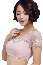 Pink Cap Sleeve Short Sweet Lace Crop Top Women