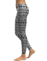Favorite Elk Head Printed Floral Leggings Mid Rise Fashion Trend