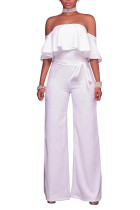 Casual Half Sleeve Solid White Full Length Jumpsuits