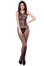 Floral Sexy Transparent Body Stocking Black Mature Bodystocking