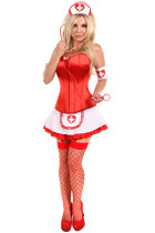 Sizzling Pin-Up Party Red Corset Nurse Costume