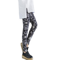 Slightly Elastic Waist Floral Printing Brushed Tight Trousers
