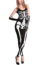 Horror Black Women Skeleton Bodysuit Costume Sleeveless
