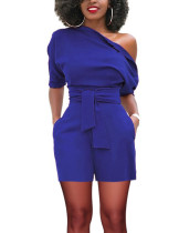 Body Hugging Waist Belt Slash Neck Blue Shorts Jumpsuit Zipper Stunner