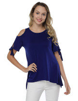 Cut Out Short Sleeve Blouses Dark Blue Side Split Loose Fit