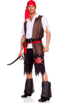 Authentic 4PCS Halloween Men Pirate Costume