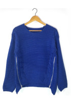 Warm Knit Double Zip Blue Sweater Full Sleeves Round Neckline
