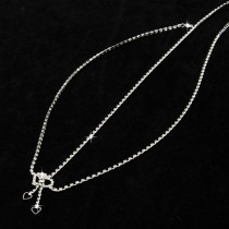 Sweet Silver Crystal Rhinestone Necklace Long Waist Body Chain