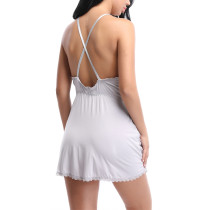 Heartthrob Grey Halter Neck Chemises Nightgown Open Back