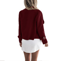 Eye-Catching Wine Red Long Cardigan Sleeve Draping Collar