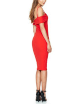 Dramatic Red Pad Bodycon Dress Bust Curve Modeling Design At Great Prices‎