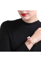 Colorful Pearls Inlay Double Layer Women Gold Bracelet