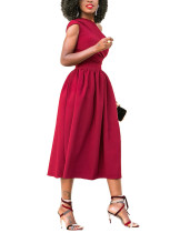 Summary Red Wide Flare Dress Midi Length Elastic Material