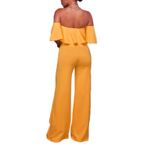 Ruffled Off Shoulder Wide Leg Yellow Bodycon Jumpsuit