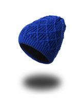 Simple Sapphire Blue Thickening Knit Hat Stretch Comfortable