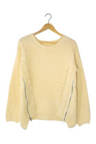Loose Apricot Knitted Round Neck Sweater Solid White Puff Shape