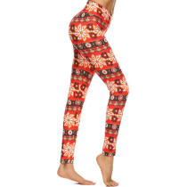 Stretchy Fabric High Rise Flower Printed Smooth Brushed Leggings