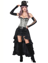 Best Mental Hole Grey Overbust Corset With Layered Skirt Superfit