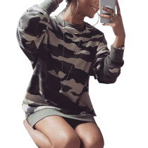 Slim Warmth Winter Camo Sweatshirt Dress Long Sleeve Elastic Hem