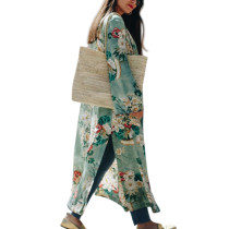 Multi Color Flower Pattern Kimono Cardigan Maxi Length Self Tie