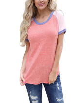 Ultimate Comfort Pink Solid Color Patchwork Blouses Round Neck