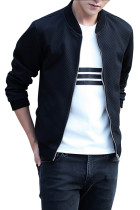 Fall Lightweight Plus Size Black Men Jacket Side Pockets