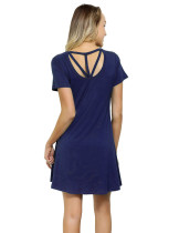 Slimming Bamboo Fabric Navy Blue Mini Dress Short Sleeve Form Fitting
