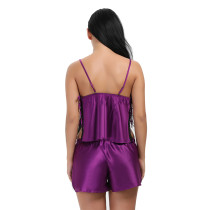Inviting Slit Purple Satin Floral Lace Sleepwear Two Piece
