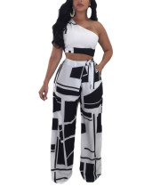 Gorgeously Black Side Knot Waist Palazzo Pants With Print Crop Top