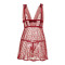 Fascinating Red Cage Back Babydoll Lace Cups