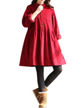 Minimalist Purplish Red Vintage Corduroy Dress Front Buttons