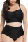 Ruched Two Piece Plus Size Black Swim Bikini High Rise