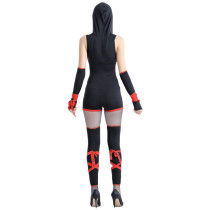 Female Shinobi Black Ninja Short Jumpsuit Costumes With Hood
