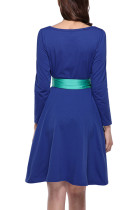 Versatile Blue High Waist Swing Dress With Long Ribbon Sash