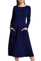Structured Fall Solid Blue Dress Midi Length Zipper Pockets
