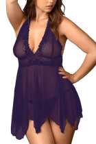 Purple Triangle Cup Mesh Babydoll Cut Out G-String Plus
