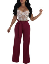 Sophisticated Wine Red Bandage Wide Leg Trousers High Rise Stretchy