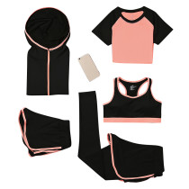 Lightweight Moisture Wicking Orange 5 Pieces Athletic Suits