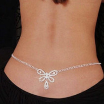 Bewitching Silver Rhinestone Belly Waist Lower Back Body Chain Jewelry