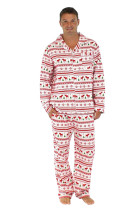 Natural Button Pockets Dad Family Christmas Pajamas Sets