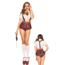 Frisky School Student Halloween Costume Crop Top Plaid Shorts
