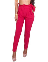 Relaxed Red Waist Self-Tie Trousers Agaric Trim Slim Leg