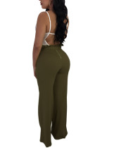 Unique Army Green Tie Waist Wide-Legged Trousers Lettuce Trim Going Out